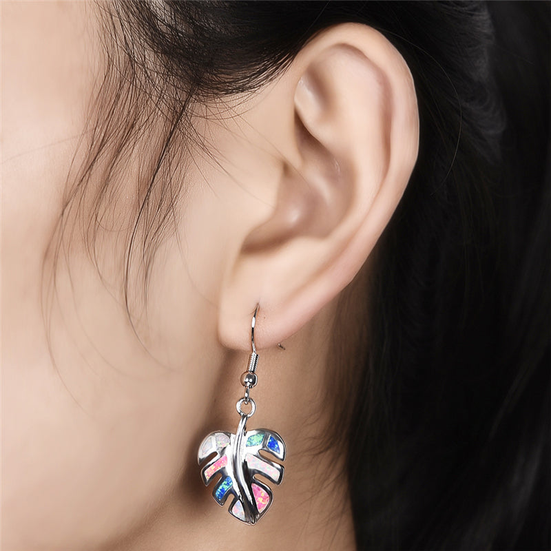 Rainbow Leaf Drop Earrings Jewelry Classic Fake Fire Opal Long Dangle Earrings Fashion Jewellery Trendy