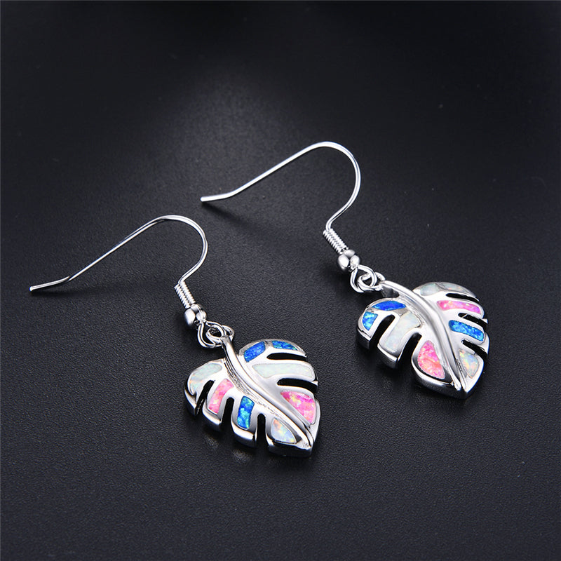 Rainbow Leaf Drop Earrings Jewelry Classic Fake Fire Opal Long Dangle Earrings Fashion Jewellery Trendy Style