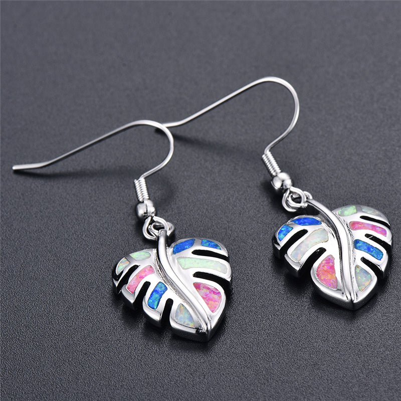 Rainbow Leaf Drop Earrings Jewelry Classic Fake Fire Opal Long Dangle Earrings Fashion Jewellery Details