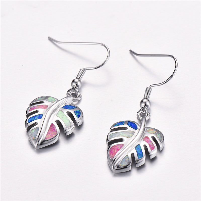 Rainbow Leaf Drop Earrings Jewelry Classic Fake Fire Opal Long Dangle Earrings Fashion Jewellery Style