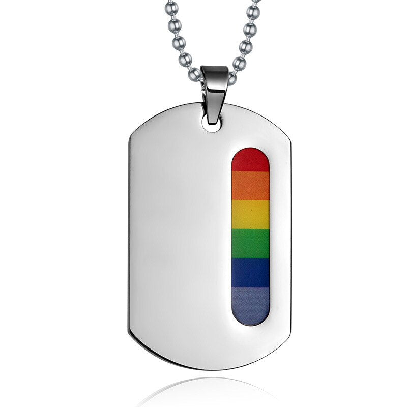 Stainless Steel Rainbow Dog Tag Jewelry Pendants & Necklaces for Gay Lesbian LGBT Pride Long Chain Necklaces Jewellery