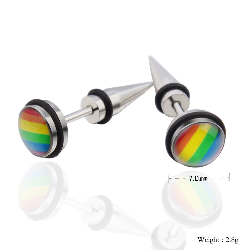 Rainbow Spike Stud Earrings LGBT Gay Pride Men Women Stainless Steel Fashion Jewelry Punk Rock Fashion Jewellery Gift Size Chart