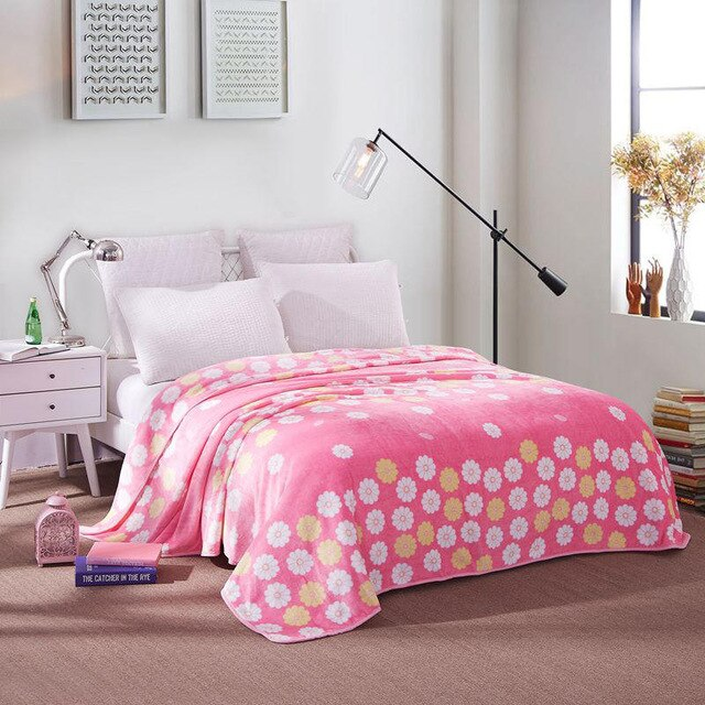 Soft Warm Pink Flower Blanket Throw Plush Thick Fleece Blankets for Sofa Bed Bedroom Home Decor Furnishing
