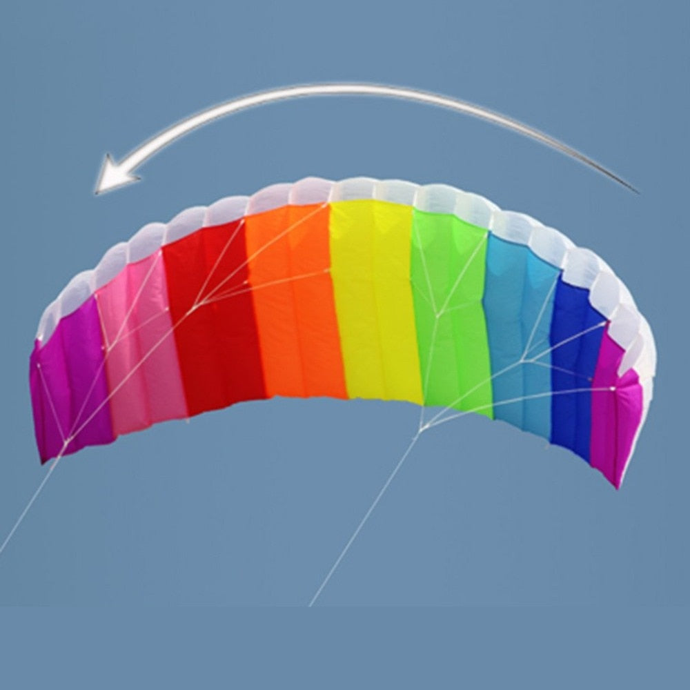 Multicolor Rainbow Dual Line Kitesurfing Stunt Parachute Soft Parafoil Surfing Kite Sport Kites Large Outdoor Beach Multicolour Flying Kite Trendy
