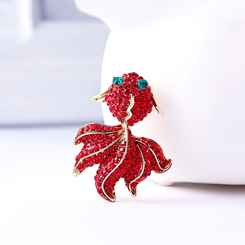 Fish Rhinestone Brooch