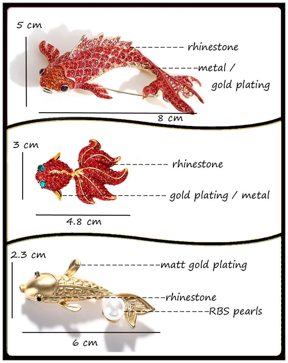 Fish Rhinestone Brooch Pin Jewelry Vintage Banquet Big Brooches for Women Crystal Pins And Brooches Accessories Size Chart