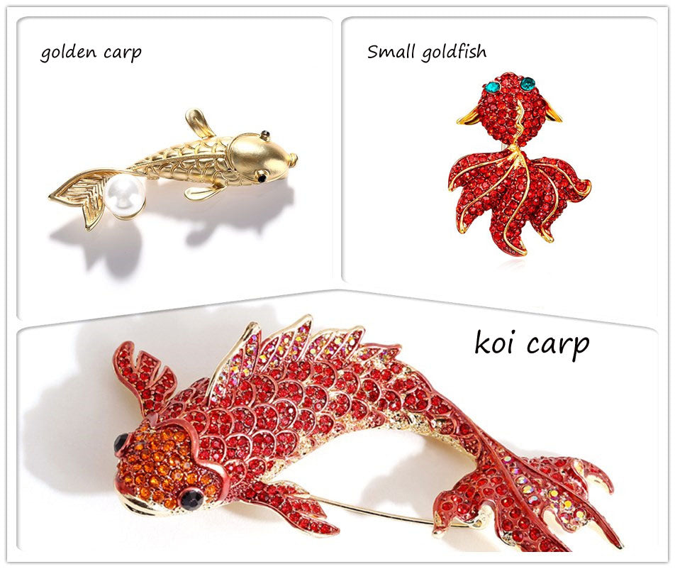 Koi Carp Goldfish Fish Rhinestone Brooch Pin Jewelry Vintage Banquet Big Brooches for Women Crystal Pins And Brooches Accessories Detail