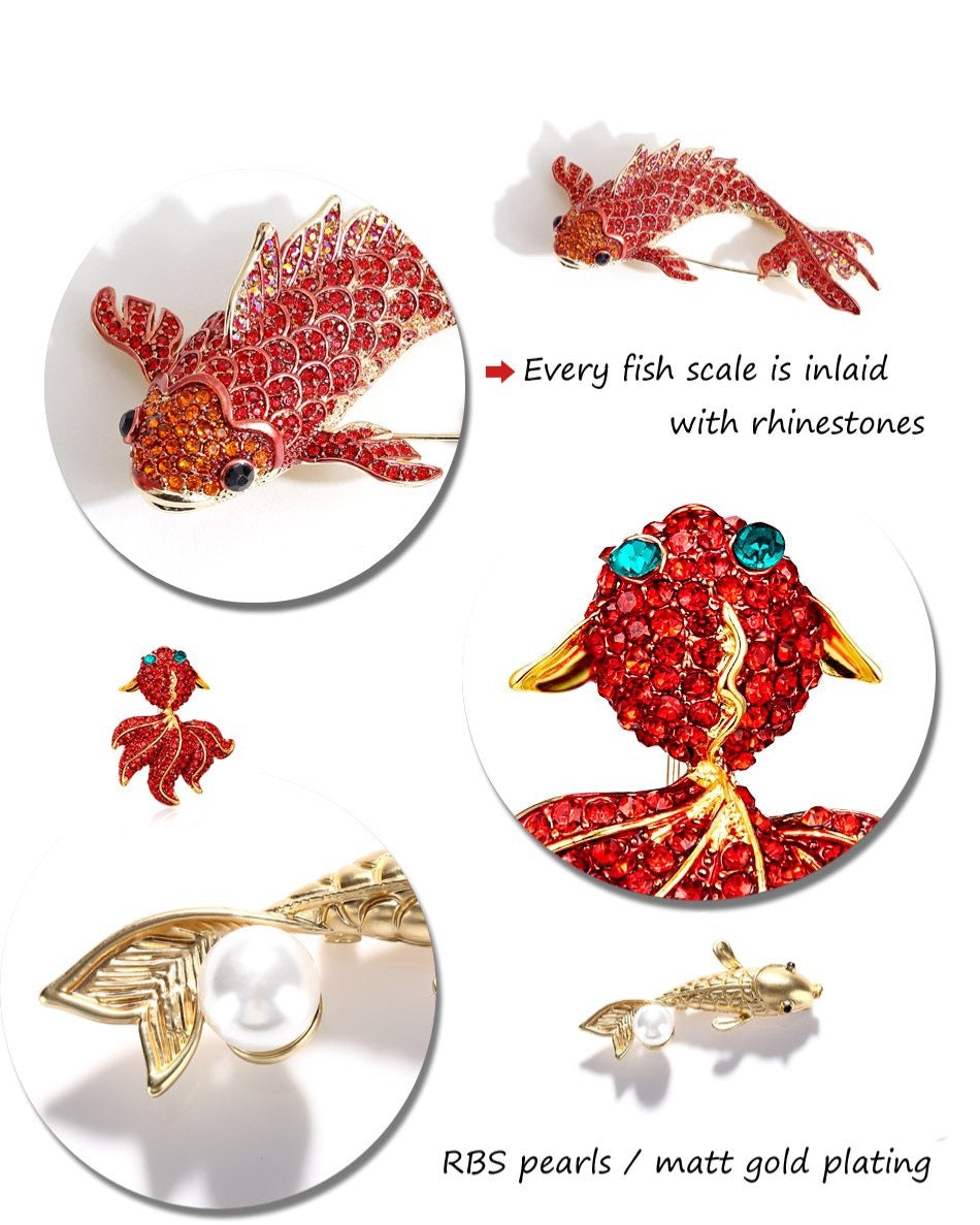 Fish Rhinestone Brooch Pin Jewelry Vintage Banquet Big Brooches for Women Crystal Pins And Brooches Accessories Details