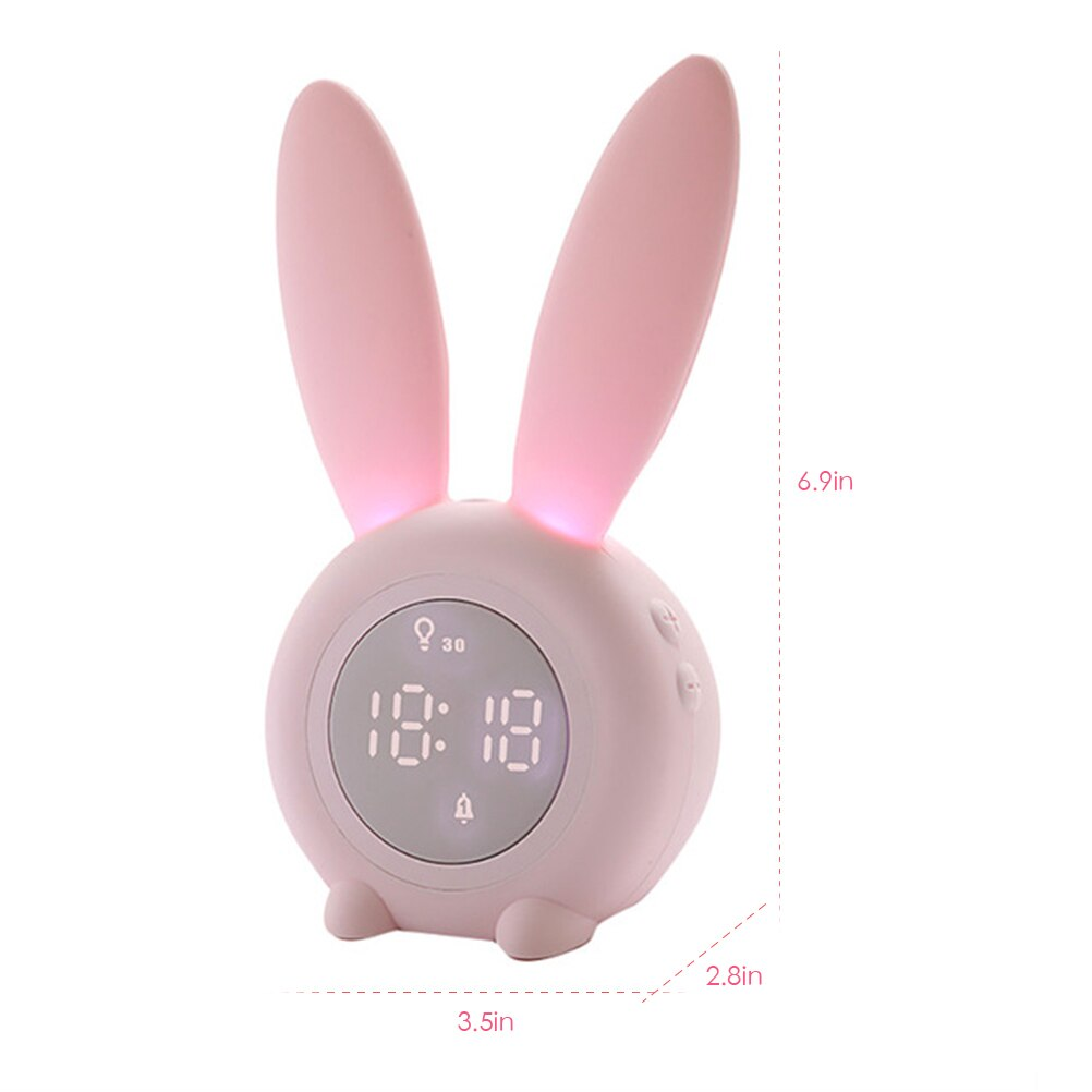 Cute Rabbit Digital Alarm Clock Wake Up Light Table LED Lamp Snooze Clocks Sunrise Sunset Alarm Clock Table Decoration Bedroom Accessories Size Chart
