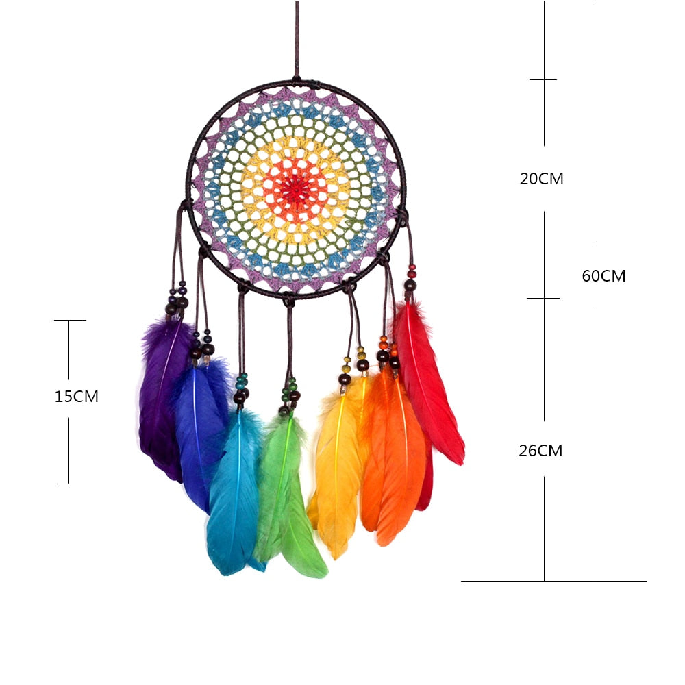 Handmade 7 Rainbow Color Feather Dreamcatcher Wind Chimes Owl Dream Catchers For Gifts DIY Wedding Home Decor Ornaments Size Chart