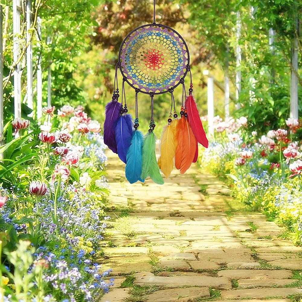 Handmade 7 Rainbow Color Feather Dreamcatcher Wind Chimes Owl Dream Catchers For Gifts DIY Wedding Home Decor Ornaments