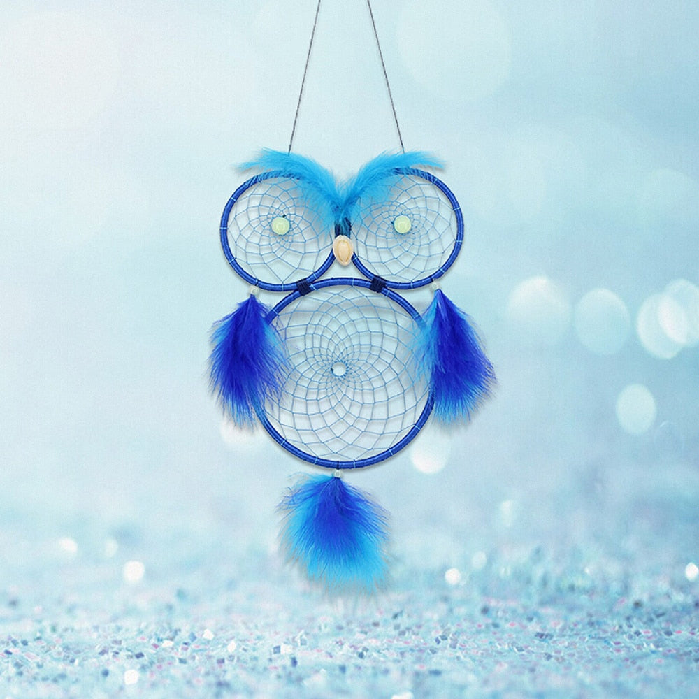 Handmade Blue Owl Color Feather Dreamcatcher Wind Chimes Owl Dream Catchers For Gifts DIY Wedding Home Decor Ornaments