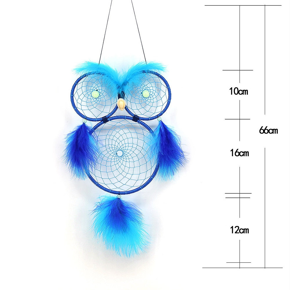 Handmade Blue Owl Color Feather Dreamcatcher Wind Chimes Owl Dream Catchers For Gifts DIY Wedding Home Decor Ornaments Size Chart