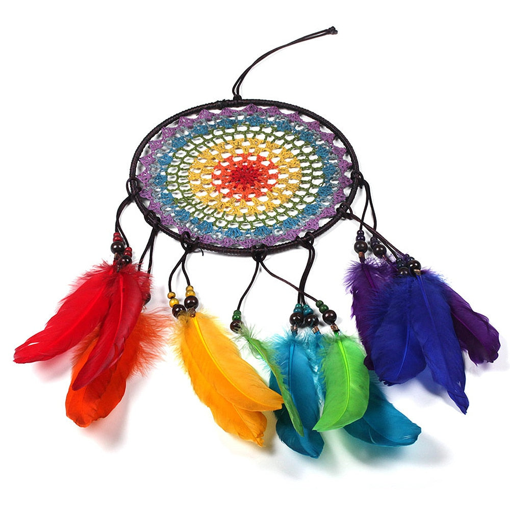 Handmade 7 Rainbow Color Feather Dreamcatcher Wind Chimes Owl Dream Catchers For Gifts DIY Wedding Home Decor Ornaments Trendy