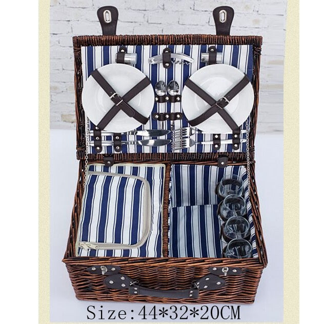 4 Persons Wicker Picnic Basket Set Outdoor Willow Picnic Baskets Handmade Picnic Basket Sets Picnic Party Camping
