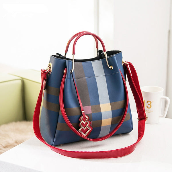 morningSOCIAL Classic Designer Plaid Stripe Tote Bucket Bag Small Split Leather Handbags