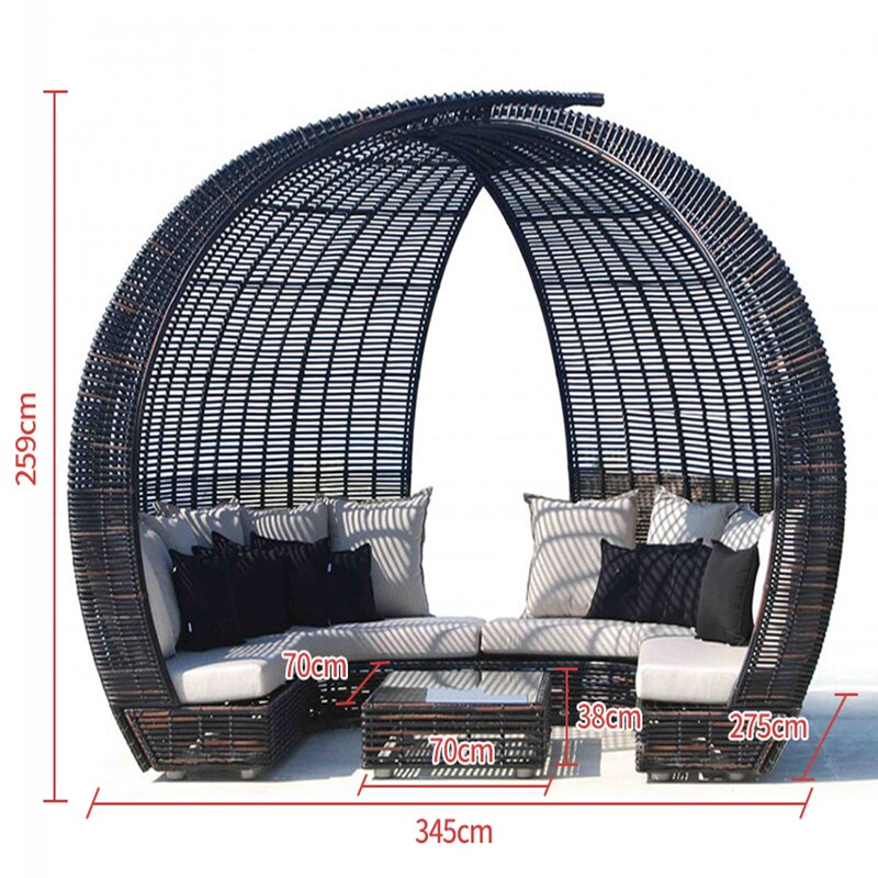 Outdoor Rattan Lounger Set   Sofa Lying Bed Canopy Balcony Villa PE Rattan Chairs Sets Size Chart