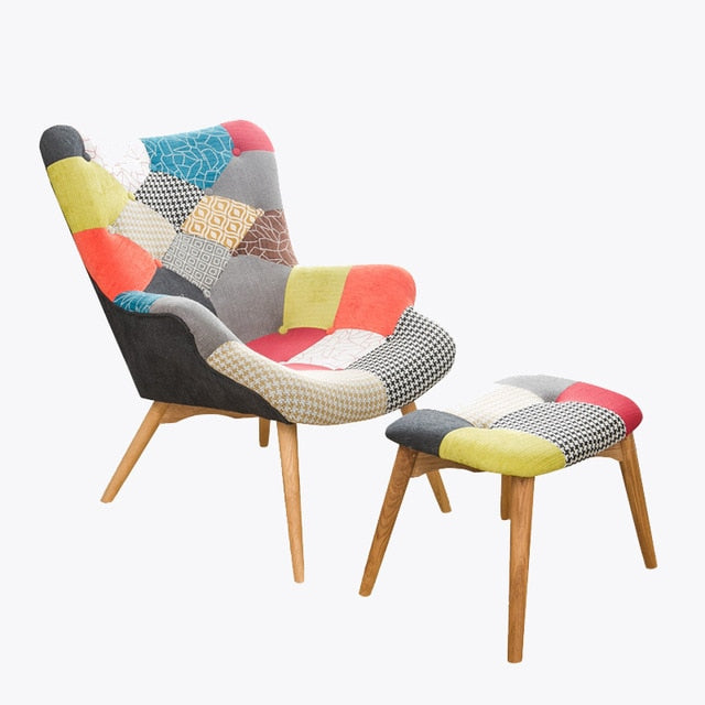 Retro Contour Chair with Foot Stool