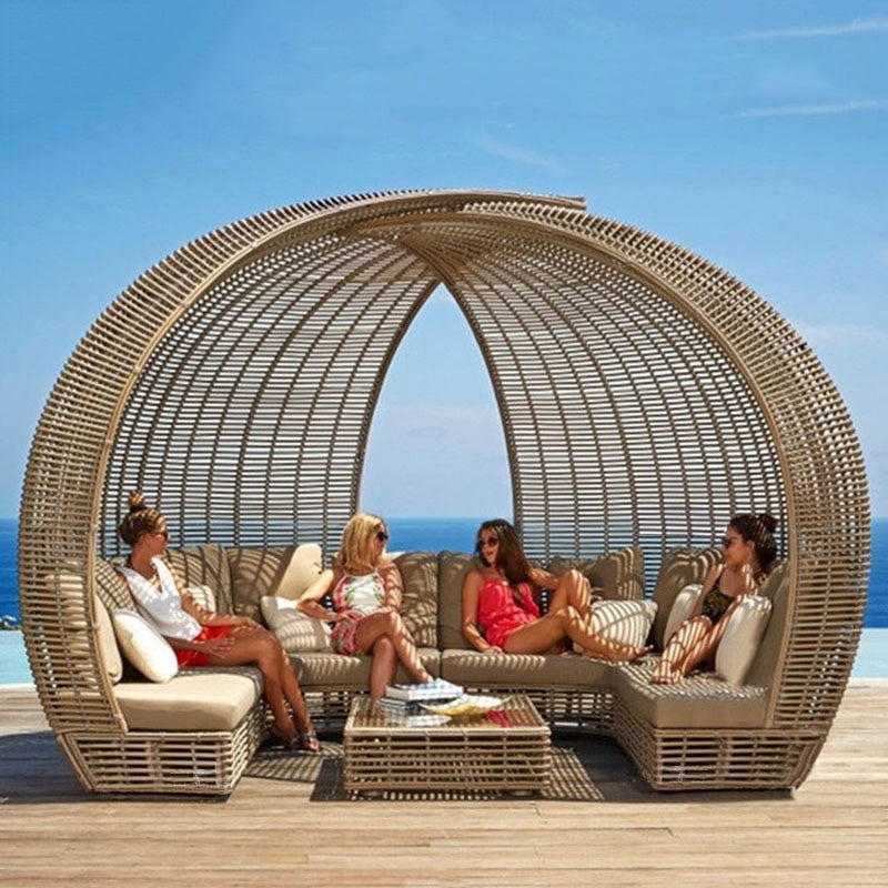 Outdoor Rattan Lounger Set   Sofa Lying Bed Canopy Balcony Villa PE Rattan Chairs Sets