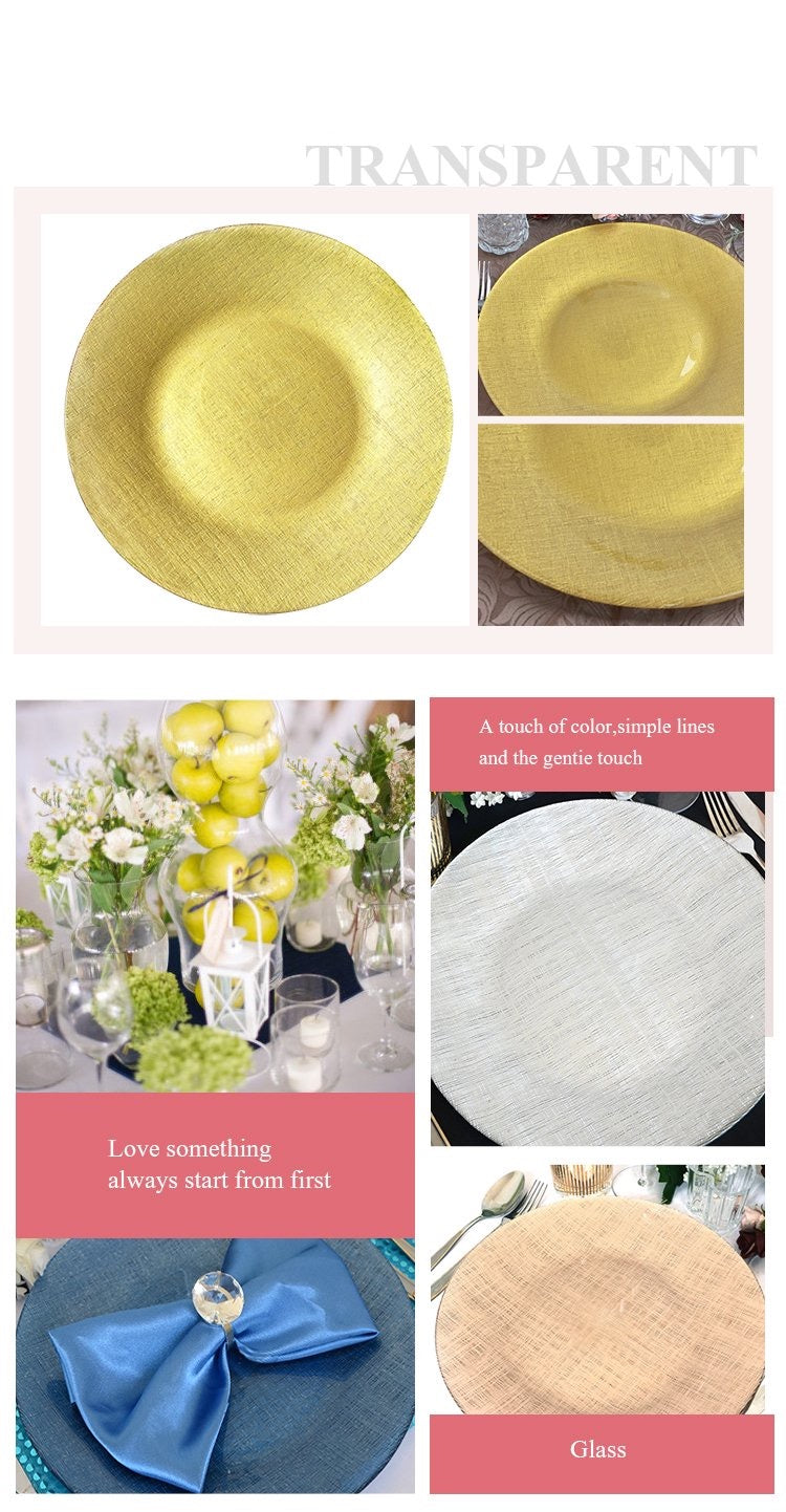 Cloth Textile Design Glass Charger Plate