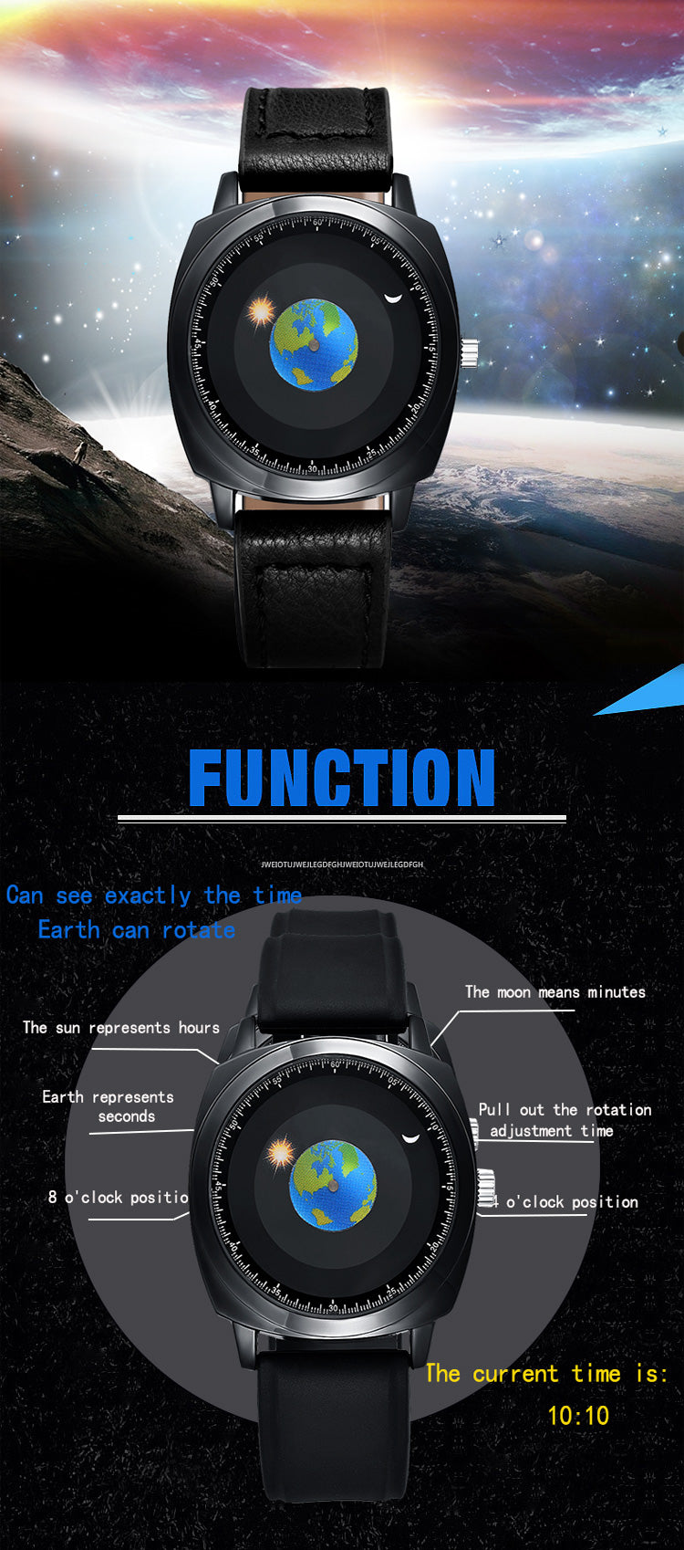Quartz Rotation Earth Watch