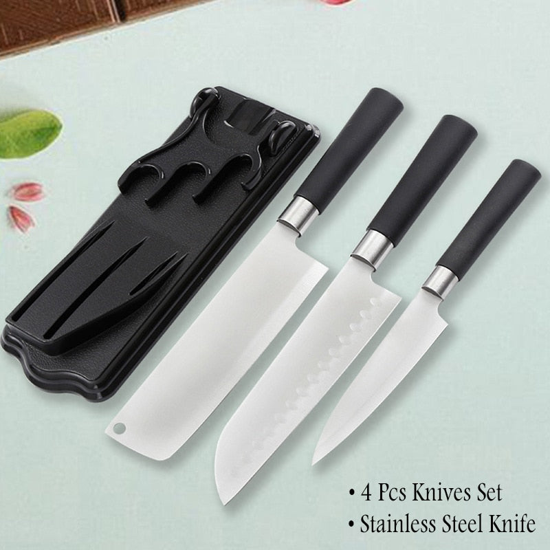 4 Piece Japanese Kitchen Knife Set Stainless Steel Santoku Knife Meat Cleaver with Stand Holder Japan Kitchen Knives Accessories