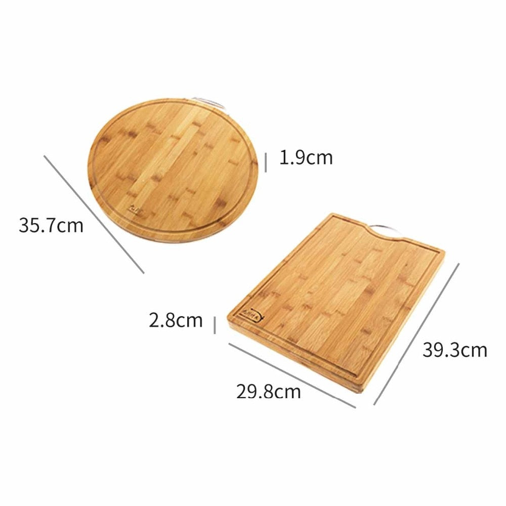 Large Round Wooden Chopping Block Thick Bamboo Rectangle Hangable Cutting Board Kitchen Accessory Size Chart