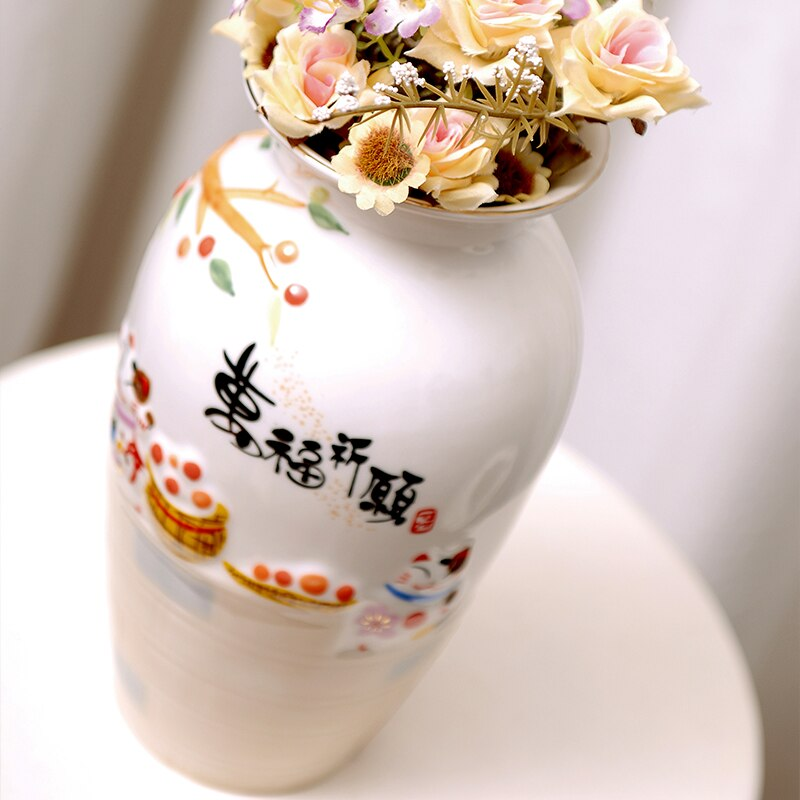 Lucky Cat Ceramic Origami Vase