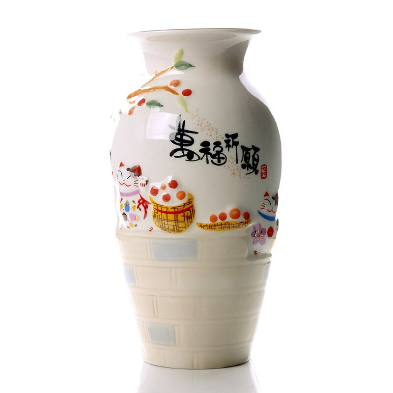 Lucky Cat Ceramic Origami Vase     Milky Flower Pot Flower Basket Plant Bonsai Modern Home Decor Vases Decoration