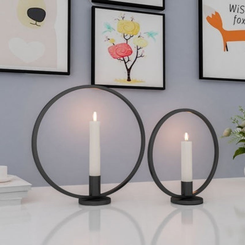 Round Iron Candle Holders