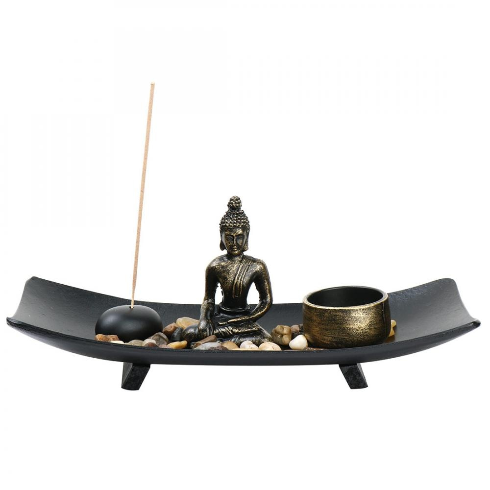 Buddha Zen Garden Vintage Incense Burner Meditation Relax Incense Stick Holder For Home Decor Gift Tabletop Figurines Miniatures