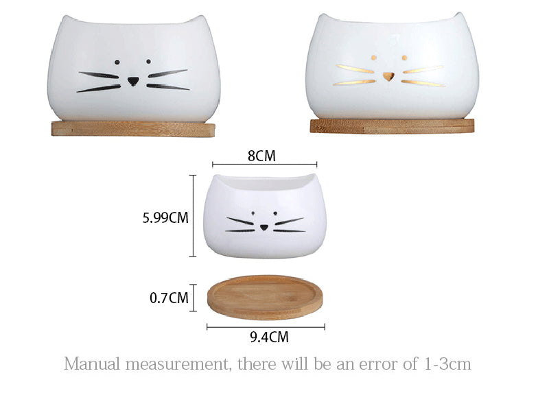 Cute Cat Face Planter Creative White Ceramic Succulent Flower Pot with Bamboo Tray Gardening Pots Size Chart