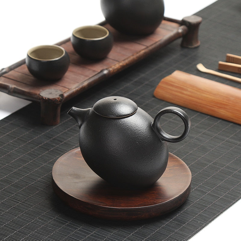 Japanese Chinese Black Kung Fu Teapot Japan Ceramic Pottery Tea Pot JPN Style F