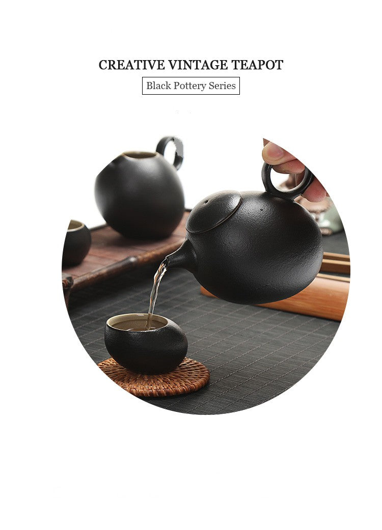 Japanese Chinese Black Kung Fu Teapot Japan Ceramic Pottery Tea Pot JPN Style G