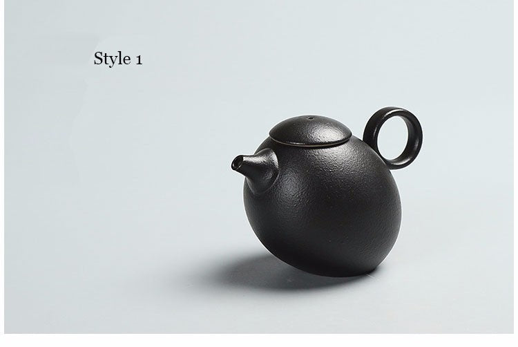 Japanese Chinese Black Kung Fu Teapot Japan Ceramic Pottery Tea Pot JPN Style A