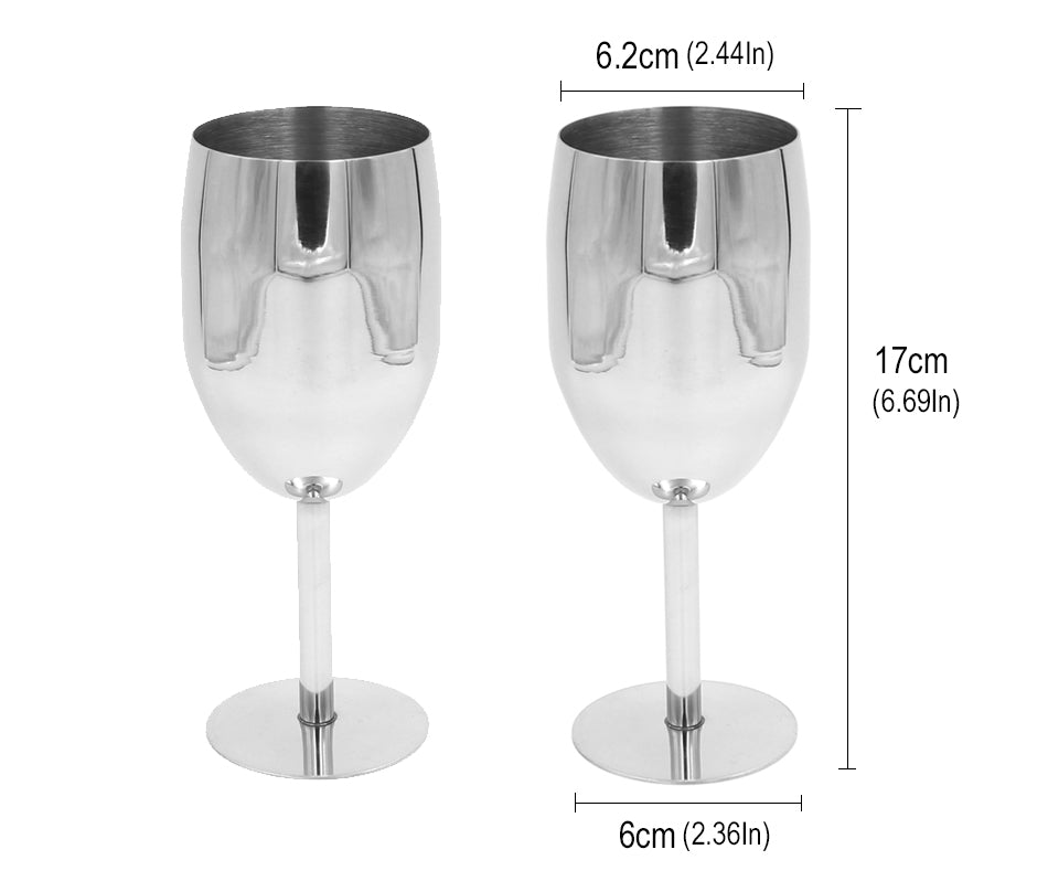 2 Piece Stainless Steel Wine Glass Set Dining Glassware Home Decor Dinner Accessories Design Size Chart