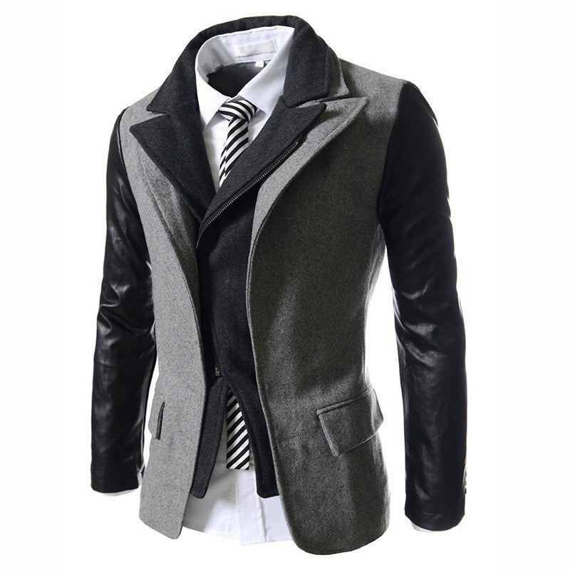 New Dress Fashion New Winter Men's Suits Dust Coat Men Slim Fit Solid Wool Male Overcoat Men's Casual suits 3color M-XXL