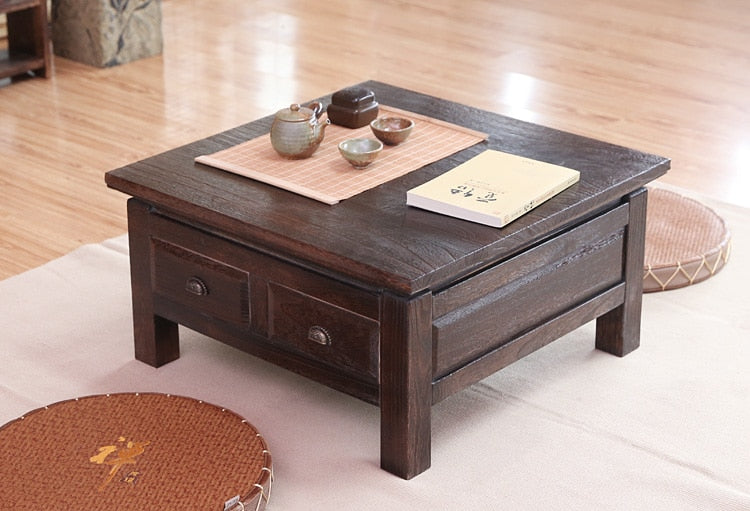 Trendy Japanese Antique Tea Table Wooden Cabinet With Two Drawer Square 65cm Paulownia Wood Japan Traditional Asian Living Room Furniture