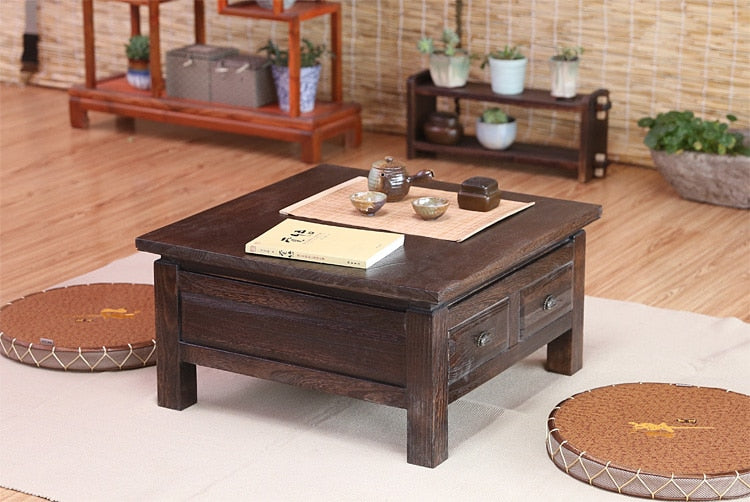 Elegant Japanese Antique Tea Table Wooden Cabinet With Two Drawer Square 65cm Paulownia Wood Japan Traditional Asian Living Room Furniture