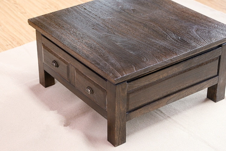 Trending Japanese Antique Tea Table Wooden Cabinet With Two Drawer Square 65cm Paulownia Wood Japan Traditional Asian Living Room Furniture