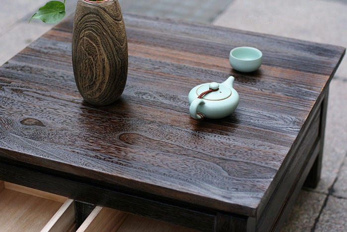 Japanese Antique Tea Table Wooden Cabinet With Two Drawer Square 65cm Paulownia Wood Japan Traditional Asian Living Room Furniture