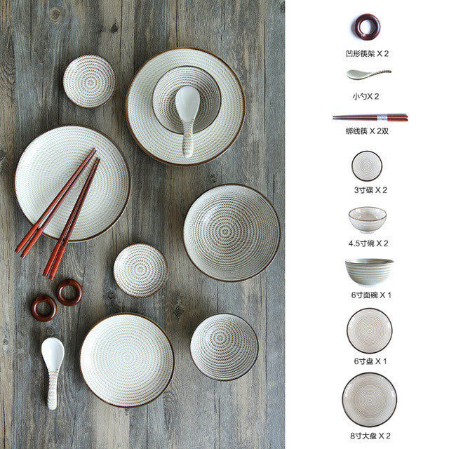 Japanese Ceramic Tableware Set China Dinner Set Porcelain Dinnerware Set Kitchen  Plate Dishes for Restaurant White Porcelain