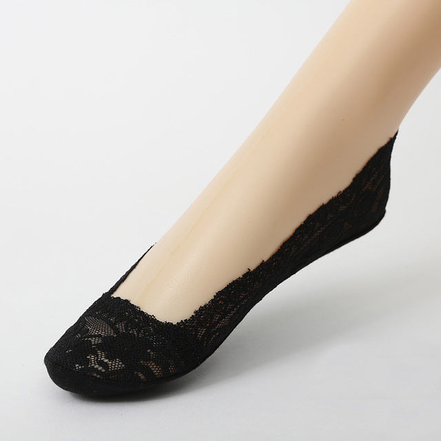 Woman's Black Cotton Lace Antiskid Low Cut Liner Socks Women