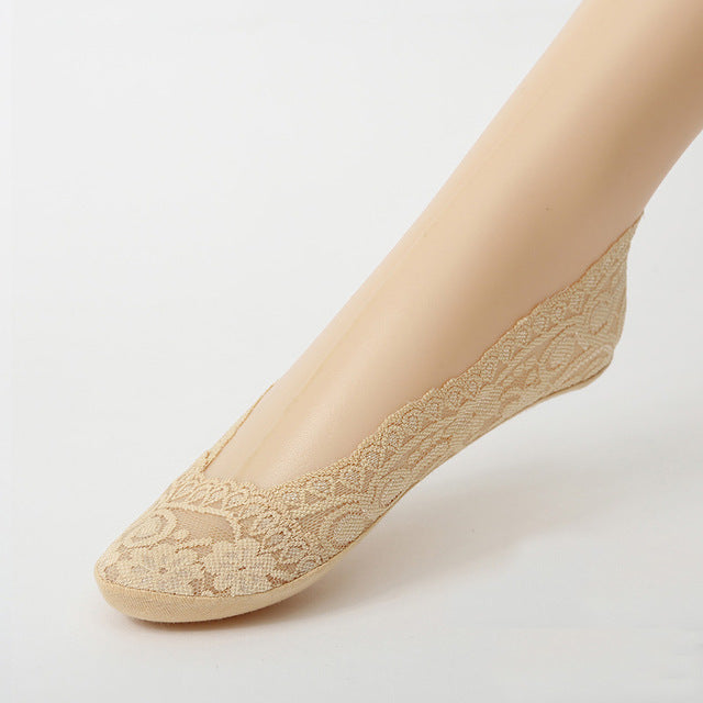 Woman's Khaki Cotton Lace Antiskid Low Cut Liner Socks Women