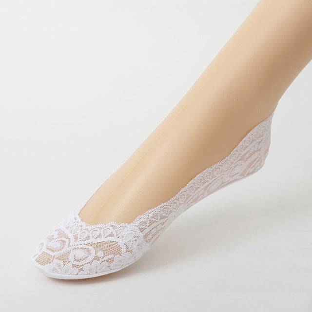 Woman's White Cotton Lace Antiskid Low Cut Liner Socks Women