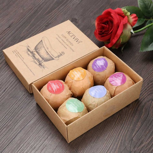 ACEVIVI Organic Bath Salt Bombs Skin Care Oil Sea Salt Handmade Bath Bombs Gift Set Pack of 6 Body Cleaner Rose Red Scent