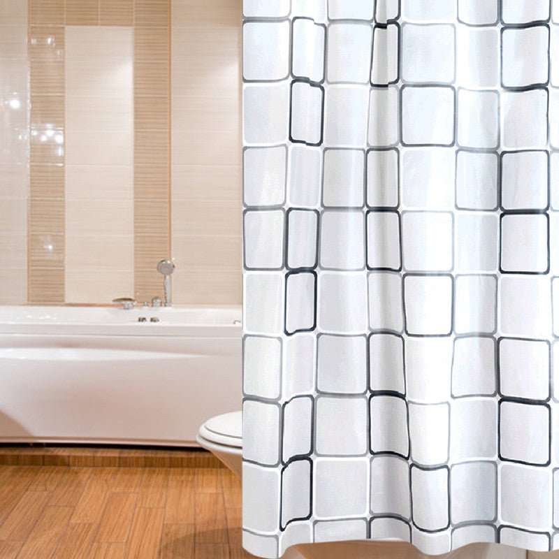 180 x 200cm Polyester Fabric Bath Shower Curtain White  With Rings  Waterproof  Shower Curtains