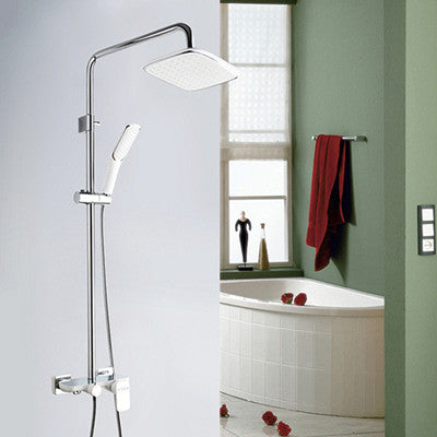 Luxurious Shower Mixer Fixture Chrome & White Luxury Bathroom In Wall Mounted Shower Set