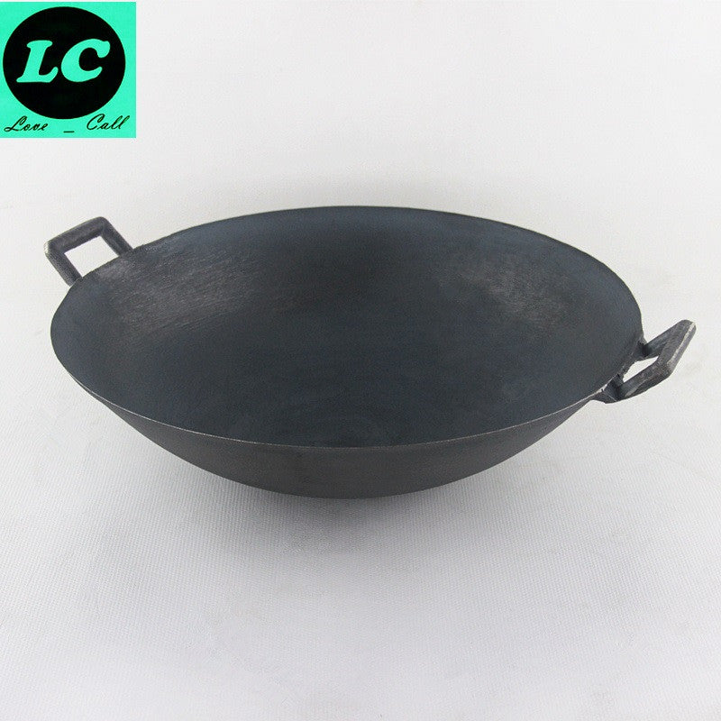 FREE SHIPPING CAST IRON WOK COOKING POT  NO COATING NON-STICK CLASSICAL CAMPING OUTDOOR USE