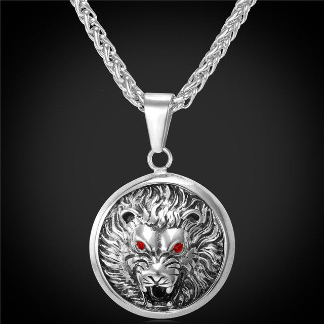 U7 Wolf Head Retro Punk Style Necklace & Pendant Jewelry Cool Gold Color Stainless Steel Statement Necklace P757